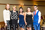 Enjoying the Tralee Bay Swimming Club and Tralee Triathlon Club Awards night at the Meadowlands Hotel on Saturday were Laura Daly, Siobhan Griffin, Marie McKenna, Amy McKenna and Paudie Cunningham