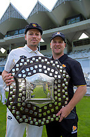 Captain Michael Bracewell and coach Glenn Pocknall with the Plunket Shield. The Wellington Firebirds celebrate winning the 2019-2020 Plunket Shield at Basin Reserve in Wellington, New Zealand on Thursday, 19 March 2020. Photo: Dave Lintott / lintottphoto.co.nz