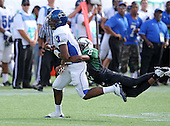 Armwood Hawks wide receiver Alvin Bailey #3 has the ball knocked out by defensive back Da'Wan Hunt #2 during the second quarter of the Florida High School Athletic Association 6A Championship Game at Florida's Citrus Bowl on December 17, 2011 in Orlando, Florida.  The score at halftime is Armwood 16 - Miami Central 14.  (Photo By Mike Janes Photography)