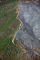 aerial photograph of an area of containment of the Geysers wildfire, Sonoma County, California