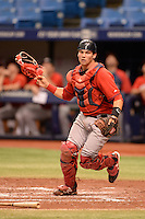 Boston Red Sox catcher Devon Fisher (35) during an Instructional League game against the Tampa Bay Rays on September 25, 2014 at Tropicana Field in St. Petersburg, Florida.  (Mike Janes/Four Seam Images)
