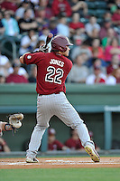John Jones (22) of the South Carolina Gamecocks bats in a game against the Furman Paladins on Wednesday, April 20, 2016, at Fluor Field at the West End in Greenville, South Carolina. (Tom Priddy/Four Seam Images)