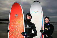 Lahinch surfers Evan and Brian. Lahinch beach, County Clare, Ireland..Picture James Horan...www.jameshoran.com.au..ALL MY IMAGES ARE COPYRIGHT.NORMAL FEES WILL APPLY Winter Surfers, Lahinch beach, County Clare, Ireland