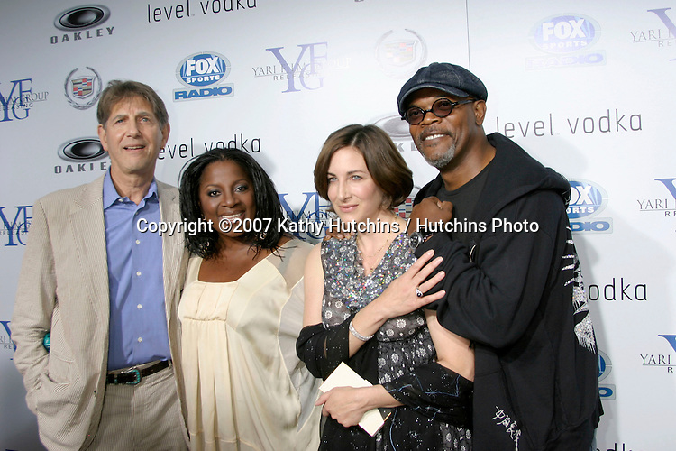"""Peter Coyote, Samuel L. Jackson & wives.""""Resurrecting The Champ"""" Premiere.Beverly Hills,  CA.Aug 22, 2007.©2007 Kathy Hutchins / Hutchins Photo...."""