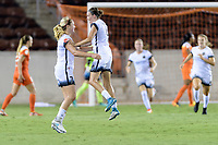 Houston, TX - Saturday July 08, 2017: Lindsey Horan celebrates her goal with Emily Menges during a regular season National Women's Soccer League (NWSL) match between the Houston Dash and the Portland Thorns FC at BBVA Compass Stadium.