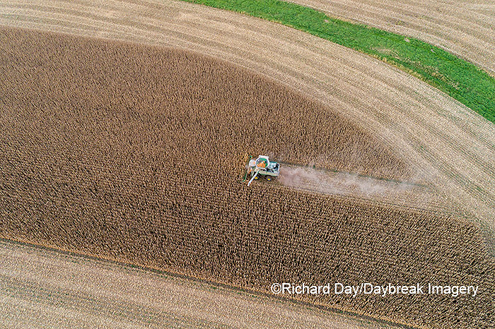 63801-13106 Harvesting corn in fall-aerial  Marion Co. IL