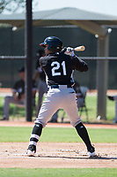 Chicago White Sox shortstop Luis Curbelo (21) at bat during an Instructional League game against the Kansas City Royals at Camelback Ranch on September 25, 2018 in Glendale, Arizona. (Zachary Lucy/Four Seam Images)