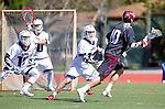 Manhattan Beach, CA 02-11-17 - Max Kollmorgen (Santa Clara #10), Christopher Mendes (Loyola Marymount #10) and Owen McNiff (Loyola Marymount #13) in action during the MCLA non-conference game between LMU (SLC) and Santa Clara (WCLL).  Santa Clara defeated LMU 18-3.