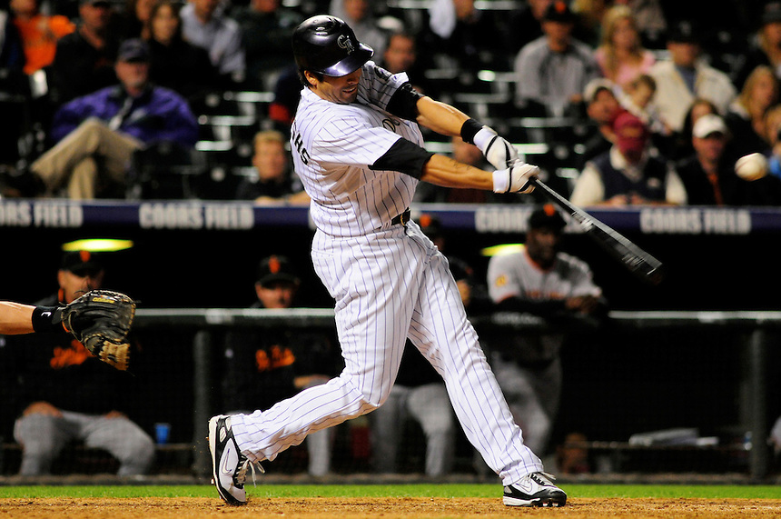 02 September 2008: Colorado Rockies outfielder Ryan Spilborghs hits an RBI single against the San Francisco Giants. The single resulted in a walk-off win for the Rockies. The Rockies defeated the Giants 6-5 at Coors Field in Denver, Colorado. FOR EDITORIAL USE ONLY