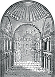 Interior view of Hagia Sophia in Istanbul, Turkey, vintage engraved illustration. Industrial Encyclopedia - E.O. Lami - 1875