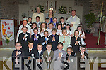COMMUNION: Children from Ardfert National School who made their Holy Communion in St Brendans Church, Ardfert, on Saturday. David Ryle, Kacper Sunklad, Oisi?n Le Gros, Darragh Lowth,Colm Healy,Jack Murphy and Trevor Leen. 2nd row l-r: Dylan Usher Moran,Aaron Craske,Dylan Forth,Lachlann Morrison,David Fitzgerald and Gavin Hussey.3rd row l-r: Christina Doherty, Aoife Lyne, Armela Antz, Aili?se Ryan, Cona?gh Fitzgerald, Oicky Petrry and Amy Casey.4th Row l-r: Brian O'Regan, Ronan McElligott, Niall Marley, Niall O'Shea and Zyndir Griffin.Back row l-r: Fr Ted Smith, Marie O'Connell (teacher) and Fr Liam Lovell..