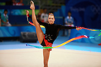 August 22, 2008; Beijing, China; Rhythmic gymnast Natalya Godunko of Ukraine performs with ribbon on way to eventually placing 7th in the All-Around final at 2008 Beijing Olympics..(©) Copyright 2008 Tom Theobald