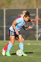 Piscataway, NJ, April 24, 2016.  Midfielder Raquel Rodriguez (11) of Sky Blue FC shields the ball from Washington Spirit midfielder Joanna Lohman (15).  The Washington Spirit defeated Sky Blue FC 2-1 during a National Women's Soccer League (NWSL) match at Yurcak Field.
