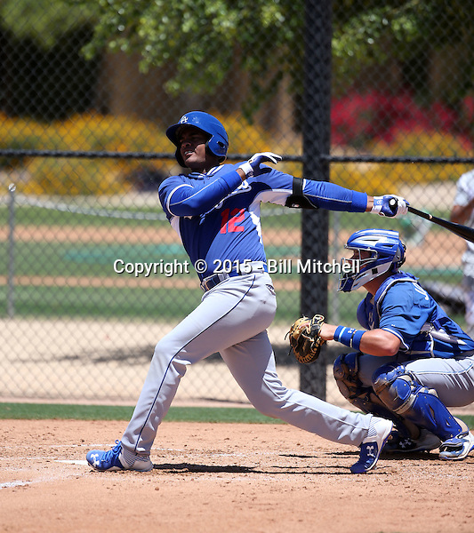Hector Olivera, a native of Cuba signed by the Los Angeles Dodgers to a 6-year, $62.5 million contract,plays in his second extended spring training game for the Dodgers against the Kansas City Royals at Camelback Ranch on May 29, 2015 in Glendale, Arizona (Bill Mitchell)