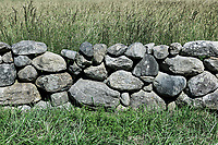Rustic stone wall detail, Dennis, Massachusetts, USA.,
