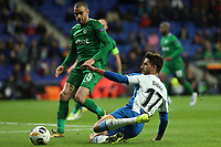 7th November 2019; RCDE Stadium, Barcelona, Catalonia, Spain; UEFA Europa League Football, Real Club Deportiu Espanyol de Barcelona versus PFC Ludogorets Razgrad;  Didac of Espanyol slide tackles Georgi Terziev of Ludogorets - Editorial Use