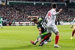 10.02.2019, Weserstadion, Bremen, GER, 1.FBL, Werder Bremen vs FC Augsburg<br /> <br /> DFL REGULATIONS PROHIBIT ANY USE OF PHOTOGRAPHS AS IMAGE SEQUENCES AND/OR QUASI-VIDEO.<br /> <br /> im Bild / picture shows<br /> Jan Moravek (FC Augsburg #14) im Duell / im Zweikampf / legt Max Kruse (Werder Bremen #10), <br /> <br /> Foto © nordphoto / Ewert