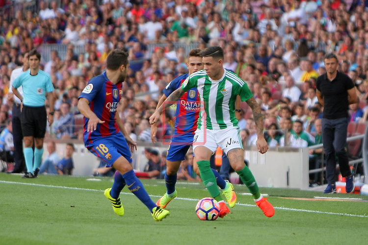 League Santander 2016/2017. Game: 1.<br /> FC Barcelona vs Real Betis: 6-2.<br /> Jordi Alba, Denis Suarez &amp; Sanabria.
