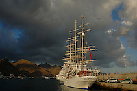 Tall masted tall ship Christian Radich docked in,  Santa Cruz harbour, Tenerife,  Canary Islands.