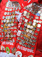 1st February 2020; Anfield, Liverpool, Merseyside, England; English Premier League Football, Liverpool versus Southampton; a Liverpool fan's scarf covered in badges prior to the match