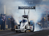 Sep 3, 2016; Clermont, IN, USA; NHRA top fuel driver Antron Brown during qualifying for the US Nationals at Lucas Oil Raceway. Mandatory Credit: Mark J. Rebilas-USA TODAY Sports