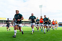 Tom Youngs leads the Leicester Tigers team off the field at the end of the pre-match warm-up. Gallagher Premiership match, between Exeter Chiefs and Leicester Tigers on September 1, 2018 at Sandy Park in Exeter, England. Photo by: Patrick Khachfe / JMP