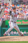 14 April 2013: Atlanta Braves starting pitcher Paul Maholm on the mound against the Washington Nationals at Nationals Park in Washington, DC. The Braves shut out the Nationals 9-0 to sweep their 3-game series. Mandatory Credit: Ed Wolfstein Photo *** RAW (NEF) Image File Available ***