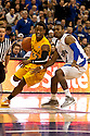 18 February 2012: Casper Ware of the Long Beach State 49ers drives to the lane against Grant Gibbs #10 of the Creighton Bluejays during the first half at the CenturyLink Center in Omaha, Nebraska. Creighton defeated Long Beach State 81 to 79.