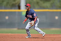 Cleveland Indians second baseman Ordomar Valdez (22) during an Instructional League game against the Kansas City Royals on October 9, 2013 at Surprise Stadium Training Complex in Surprise, Arizona.  (Mike Janes/Four Seam Images)