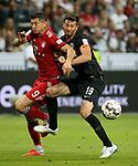 12.08.2018, Commerzbank - Arena, Frankfurt, GER, Supercup, Eintracht Frankfurt vs FC Bayern M&uuml;nchen , <br />DFL REGULATIONS PROHIBIT ANY USE OF PHOTOGRAPHS AS IMAGE SEQUENCES AND/OR QUASI-VIDEO.<br />im Bild<br />Robert Lewandowski (M&uuml;nchen), David Abraham (Frankfurt)<br /> <br /> Foto &copy; nordphoto / Bratic