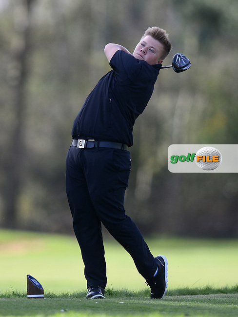 Maxwell Martin tees off during the Peter McEvoy Trophy, Copt Heath Golf Club, 1220 Warwick Road, Knowle, Solihull, West Midlands, B93 9LN, England.<br /> Picture: Richard Martin Roberts / Golffile