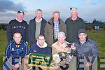 CHAMPIONSHIP: Edward McCarthy Listowel been presented with the Baily Cup from Tralee Coursing committee member Tom O'Connor, after his Dog BAO GERONIMO won the cup at Kingdom Coursing Ballybeggan, Tralee sponsored by Lee Strand and Slieve Mish bar, Boherbee,Tralee on Sunday Front l-r:Liam Walsh, Joe and Edward McCarthy and Tom O'Connor. Back l-r: Mike McCarthy, Christy Donovan, PJ Keane and Pat Mccarthy(Listowel) ........ . ............................... ..........