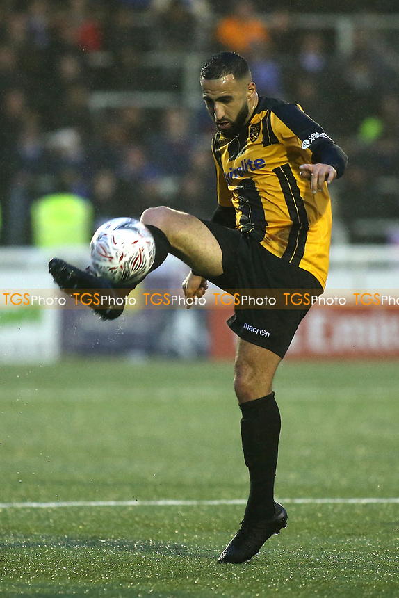 Aryan Tajbakhsh of Maidstone United in action during Maidstone United vs Oldham Athletic, Emirates FA Cup Football at the Gallagher Stadium on 1st December 2018