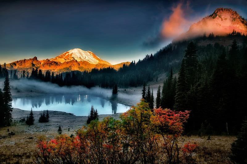 Mt. Rainier and Tipsoo Lake with sunrise and fall color. Mt. Rainier National Park. Washington