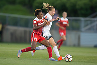 Boyds, MD. - Saturday, June 24 2017:  Emily Sonnett, Francisca Ordega during a regular season National Women's Soccer League (NWSL) match between the Washington Spirit and the Portland Thorns FC at Maureen Hendricks Field, Maryland SoccerPlex. The Washington Spirit defeated Portland Thorns FC 1-0.