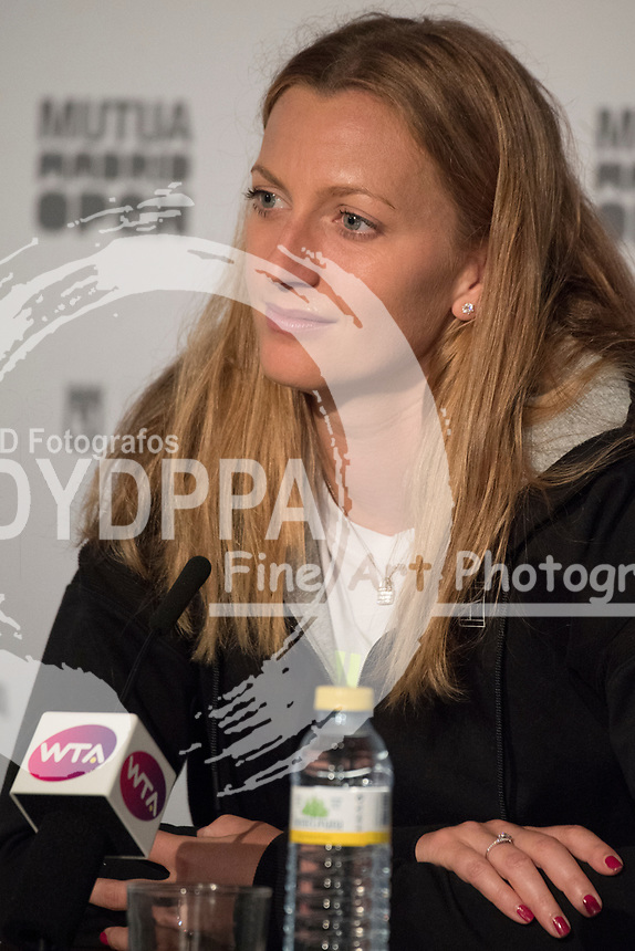 Petra Kvitova after wins the master 1000 Petra Kvitova vs Kiki Bertens final during the Mutua Madrid Open tennis match, Master 1000 at Caja Magica in Madrid on May 12, 2018.