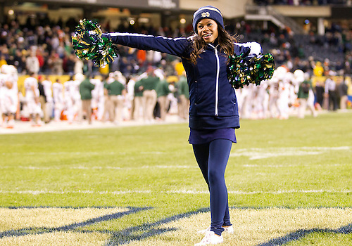 October 06, 2012:  Notre Dame cheerleader Myriah Burce performs during NCAA Football game action between the Notre Dame Fighting Irish and the Miami Hurricanes at Soldier Field in Chicago, Illinois.  Notre Dame defeated Miami 41-3.