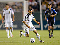 LA Galaxy forward Landon Donovan (10) moves through the midfield with the ball. The LA Galaxy and the San Jose Earthquakes played to a 2-2 draw at Home Depot Center stadium in Carson, California on Thursday July 22, 2010.
