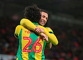 9th February 2019, bet365 Stadium, Stoke-on-Trent, England; EFL Championship football, Stoke City versus West Bromwich Albion; Ahmed Hegazy and Jake Livermore of West Bromwich Albion celebrate the opening goal of the game in the  25th minute, 0-1 to West Brom