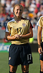 14 July 2007: United States' Lori Chalupny, wearing the brand new gold U.S. Womens World Cup jersey. The United States Women's National Team defeated their counterparts from Norway 1-0 at Rentschler Stadium in East Hartford, Connecticut in a women's international friendly soccer game.