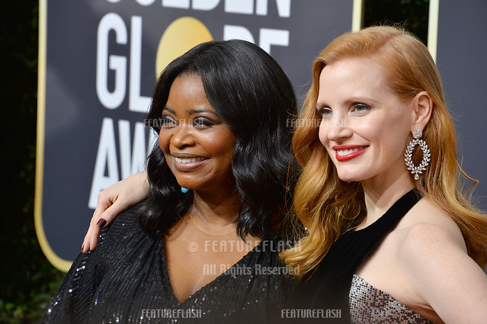 Octavia Spencer &amp; Jessica Chastain at the 75th Annual Golden Globe Awards at the Beverly Hilton Hotel, Beverly Hills, USA 07 Jan. 2018<br /> Picture: Paul Smith/Featureflash/SilverHub 0208 004 5359 sales@silverhubmedia.com
