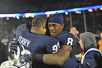 24 November 2012:  Penn State WR Allen Robinson (8) hugs James Terry (93) after the game.The Penn State Nittany Lions defeated the Wisconsin Badgers 24-21 in OT overtime at Beaver Stadium in State College, PA.
