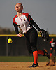 Liz Sorge #7, Syosset pitcher, delivers to the plate in the top of the fourth inning of a non-league varsity softball game against Seaford at Syosset High School on Wednesday, Apr. 27, 2016. She pitched a complete game and drove in three runs in Syosset's 4-3 win.