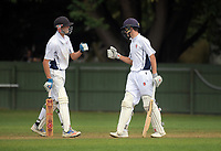 Curtis Heaphy (right) celebrates his half century during the 2018 Junior NZ Secondary School Cricket Boys' Tournament match between St Andrew's College and Palmerston North Boys' High School at Fitzherbert Park in Palmerston North, New Zealand on Friday, 23 March 2018.. Photo: Dave Lintott / lintottphoto.co.nz