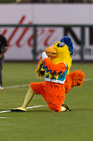 The San Diego Chicken, also known as the Famous Chicken or just The Chicken, coaches first base during the Fall Stars game at Surprise Stadium on November 3, 2018 in Surprise, Arizona. The AFL West defeated the AFL East 7-6 . (Zachary Lucy/Four Seam Images)