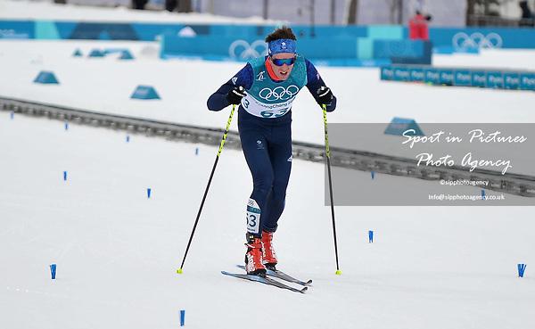 Callum Smith (GBR, 63) finishes the race. Mens 15km Skiathlon. Cross country skiing. Pyeongchang2018 winter Olympics. Alpensia cross country centre. Alpensia. Gangneung. Republic of Korea. 11/02/2018. ~ MANDATORY CREDIT Garry Bowden/SIPPA - NO UNAUTHORISED USE - +44 7837 394578