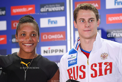 (L-R) Alia Atkinson (JAM), Vladimir Morozov (RUS), <br /> OCTOBER 26, 2016 - Swimming : FINA Swimming World Cup Tokyo <br /> Award Ceremony <br /> at Tatsumi International Swimming Pool, Tokyo, Japan. <br /> (Photo by AFLO SPORT)