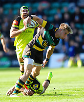 Harry Mallinder of Northampton Saints takes on the Leicester Tigers defence. Aviva Premiership match, between Northampton Saints and Leicester Tigers on March 25, 2017 at Franklin's Gardens in Northampton, England. Photo by: Patrick Khachfe / JMP