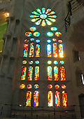 One of the many stained glass windows inside The Basilica de la Sagrada Família (Basilica and Expiatory Church of the Holy Family) that are used to flood the basilica with light, in Barcelona, Spain on October 19, 2013.<br /> Credit: Ron Sachs / CNP