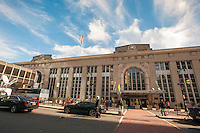 Newark Penn Station in Newark, NJ on Friday, March 11, 2016. Negotiations are underway to prevent a strike by NJ Transit workers on Sunday, March 13 at 12:01AM. On Monday 160,000 riders  who use the rail system on a weekday will have to contend with contingency plans that can only accommodate 40 percent of them.  (© Richard B. Levine)